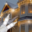 150 Clear Twinkle Icicle Lights - White Wire