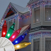 100 Multi (Red, Green, Pink, Blue, Yellow) Icicle Lights, White Wire, Short Drops