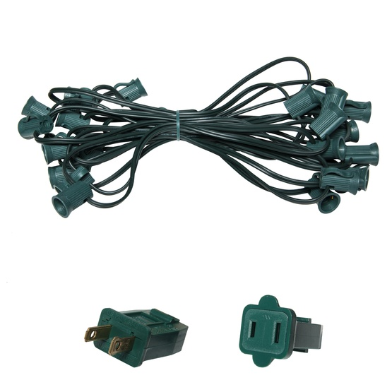 "C7 E12 Light Stringer, 25' Length, 12"" Spacing, SPT1 5 Amp Green Wire, Commercial Grade"