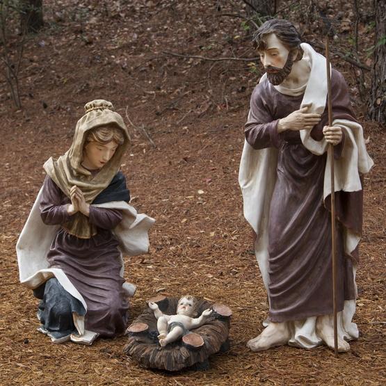 "50"" Polyresin Nativity Holy Family, 3 Piece Set"