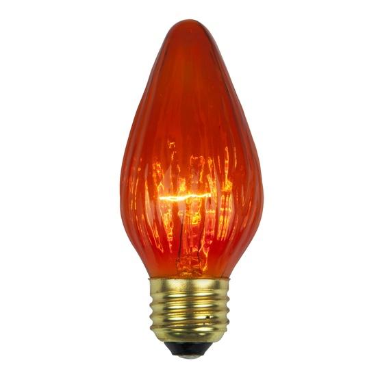 F15 Flame Triple Dipped Transparent Amber / Orange, 25 Watt Replacement Bulbs