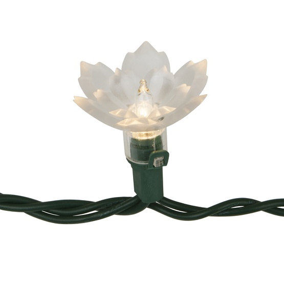 Two Layer Crystal Lilly Flower Lights on Green Wire