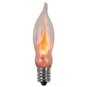 C7 Flicker Flame Clear Christmas Light Bulbs, Pack of 2