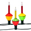 C7 Traditional Bubble Lights, 7-Light Set, Multicolored Lamps, Green Wire