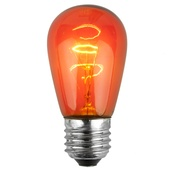 S14 Triple Dipped Transparent Amber / Orange, 11 Watt Replacement Bulbs