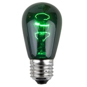 S14 Triple Dipped Transparent Green, 11 Watt Replacement Bulbs