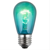 S14 Triple Dipped Transparent Teal, 11 Watt Replacement Bulbs