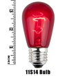 S14 Triple Dipped Transparent Red, 11 Watt Replacement Bulbs