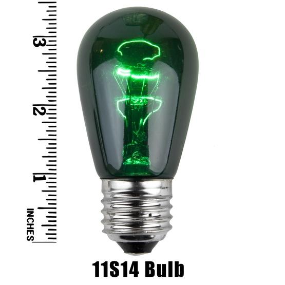 S14 Triple Dipped Transparent Green, 11 Watt Replacement Bulbs