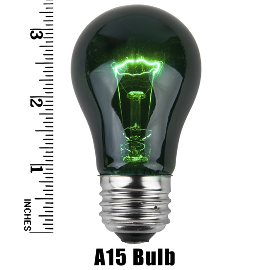 A15 Transparent Green, 15 Watt Replacement Bulbs