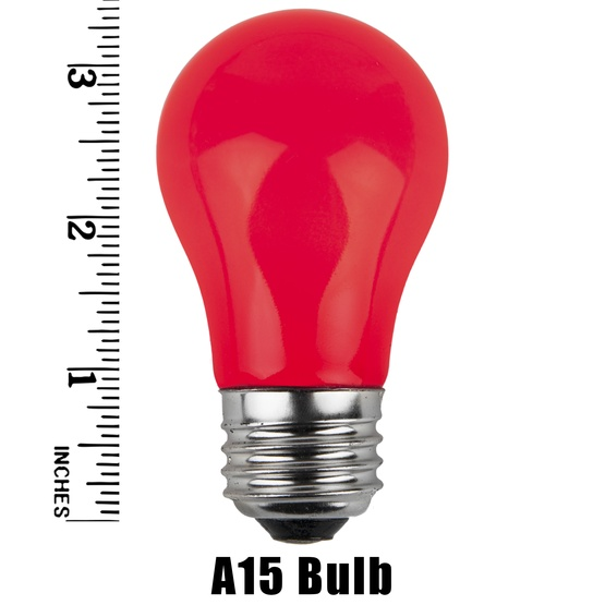 A15 Opaque Red, 15 Watt Replacement Bulbs