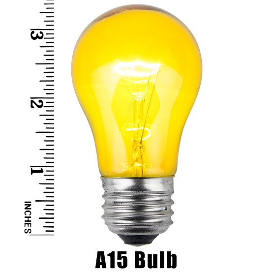 A15 Transparent Yellow, 15 Watt Replacement Bulbs