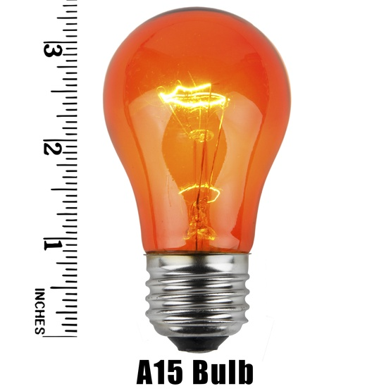 A15 Transparent Amber / Orange, 15 Watt Replacement Bulbs