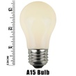 A15 Opaque White, 15 Watt Replacement Bulbs