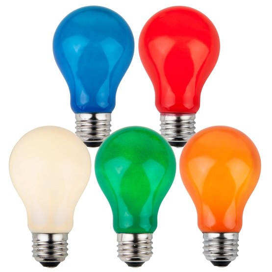 A19 Opaque Multicolor, 25 Watt Replacement Bulbs