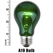 A19 Transparent Green, 25 Watt Replacement Bulbs