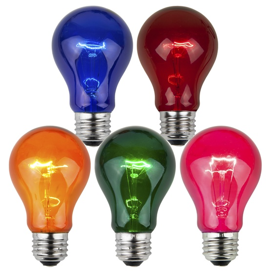 A19 Transparent Multicolor, 25 Watt Replacement Bulbs