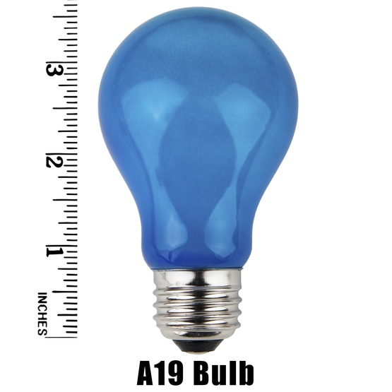 A19 Opaque Blue, 25 Watt Replacement Bulbs