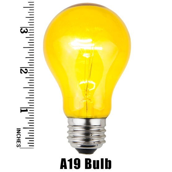 A19 Transparent Yellow, 25 Watt Replacement Bulbs