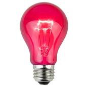 A19 Transparent Pink, 25 Watt Replacement Bulbs