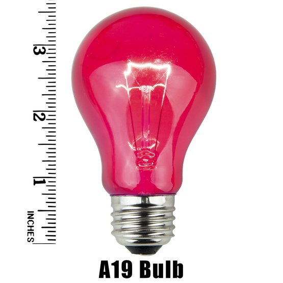 A19 Transparent Pink, 25 Watt Replacement Bulbs
