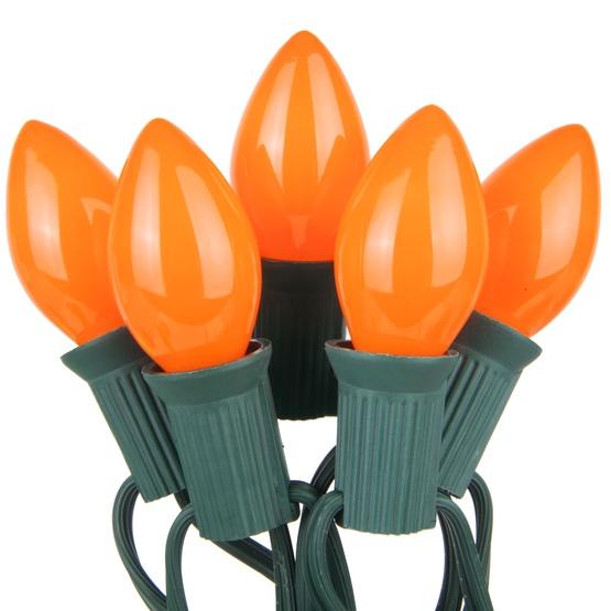 25 C7 Opaque Orange Christmas Lights