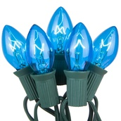 25 C7 Transparent Blue Christmas Lights