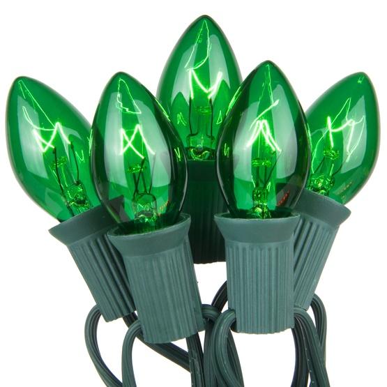 25 C7 Transparent Green Christmas Lights
