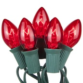 25 C7 Transparent Red Christmas Lights
