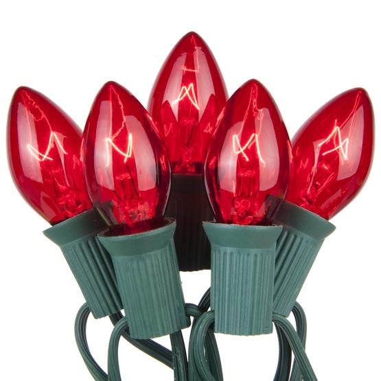 25 C7 Transparent Red Christmas Lights