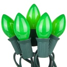 25 C7 Opaque Green Christmas Lights