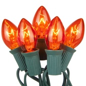 25 C7 Transparent Amber Christmas Lights