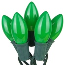 25 C9 Opaque Green Christmas Lights