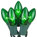 25 C9 Transparent Green Christmas Lights