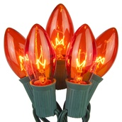 25 C9 Transparent Amber Christmas Lights
