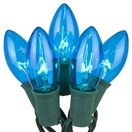 25 C9 Transparent Blue Christmas Lights