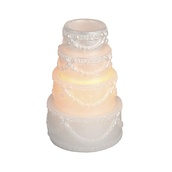 "3.74""H Wedding Cake Battery Operated Flameless LED Candle in White"