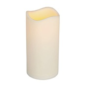"6""H x 3""D Resin Indoor/Outdoor Battery Operated Flameless LED Candle in Bisque"