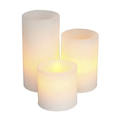 3pc Battery Operated Flameless LED Straight Edge Candle Set in White