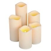 5pc Resin Indoor/Outdoor Battery Operated Flameless LED Candle Set in Bisque
