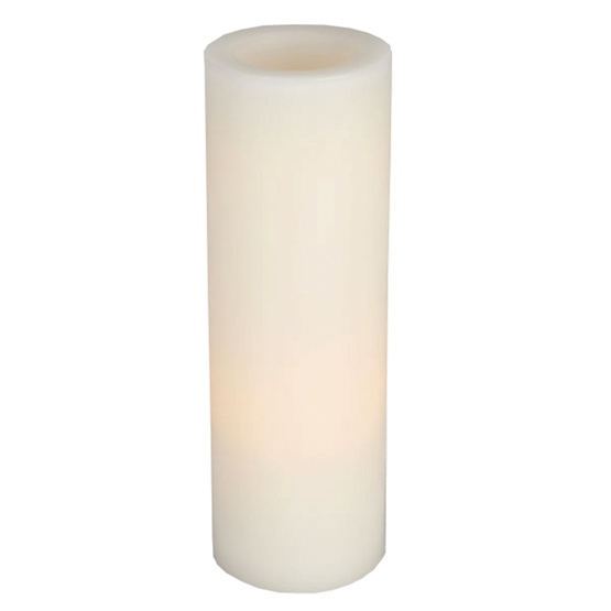 """12"""" Battery Operated Flameless LED Straight Edge Candle in White"""