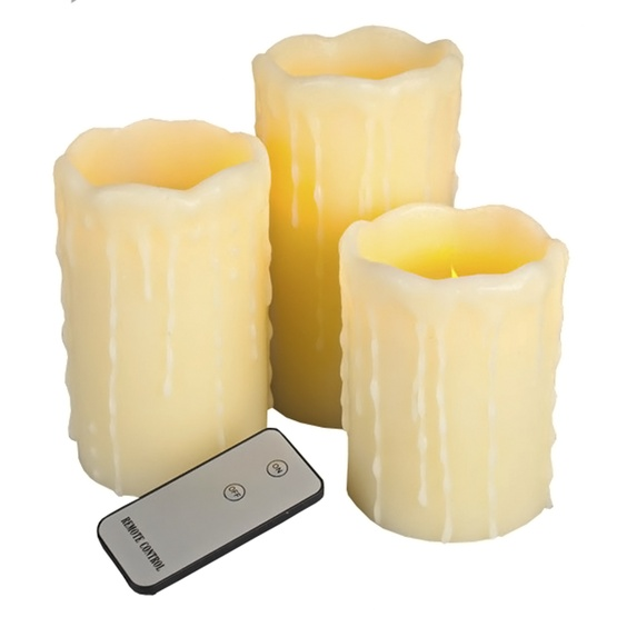 3pc Remote Controlled Battery Operated Drip Edge Flameless LED Candle Set in Ivory