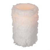 "6""H Carved Rose Pillar Battery Operated Flameless LED Candle in White"