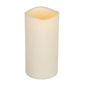 "9""H Resin Indoor/Outdoor Battery Operated Flameless LED Candle in Bisque"