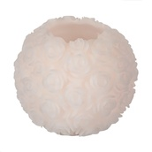 """5.9""""H Carved Round Rose Battery Operated Flameless LED Candle in White"""