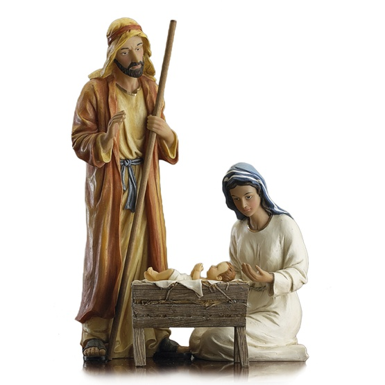 "12""H Deluxe Holy Family Nativity Set, 3 Piece Set"