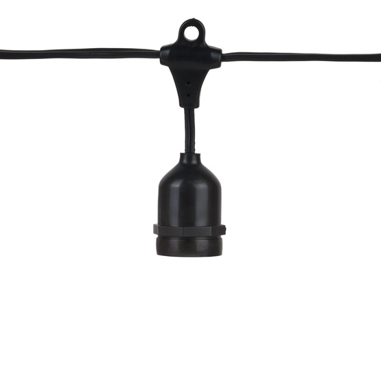 54' Commercial Grade Patio String Lights, 24 E26 - Medium Sockets, Black Wire