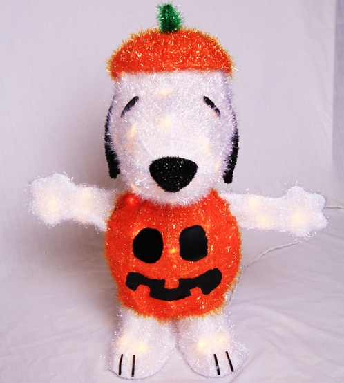 Light Up Snoopy in Pumpkin Costume Yard Art