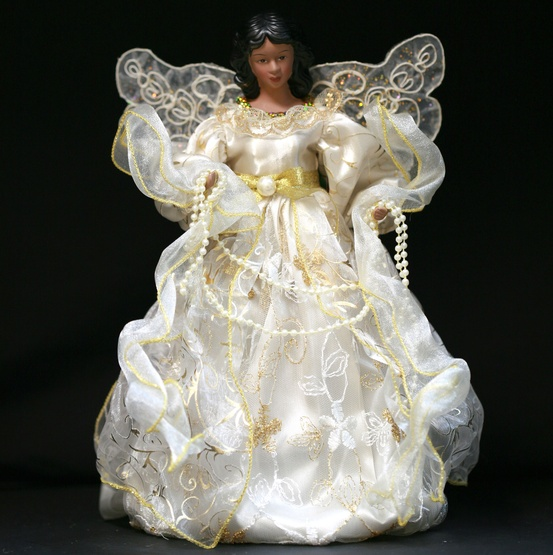 "12"" Ivory African American Angel Tree Topper"