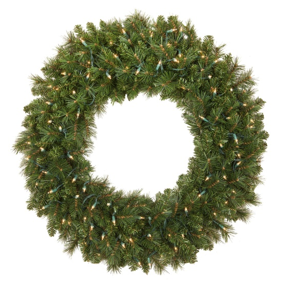 Brighton Fir Prelit Christmas Wreath, Clear Lights
